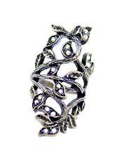 Vintage Art Déco estilo bronce y cristal retorcido recortado anillo hoja