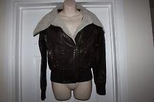 Ladies Brown PU Jacket with Fleece Collar Miso Coat