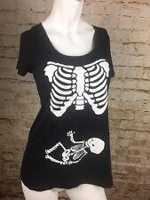 Motherhood Maternity Baby Skeleton/ Halloween T-shirt Size Medium