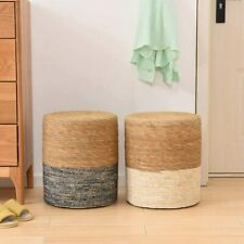 Solid Wood Natural Seagrass Footstool Hand Weaving Ottoman for Living Room