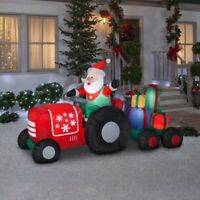 Gemmy Holiday 5ft Airblown Inflatable LED Lit Santa on Tractor Towing Presents