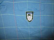 vtg IZOD LACOSTE GOLF POLO SHIRT Blue Stripe Embroidered Clubs Crocodile Pastel