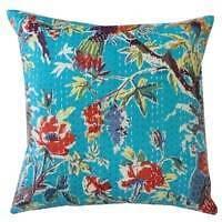 2 * 40cm Bird Print Cushion Cover Ethnic Kantha Cotton Throw Pillow Decor