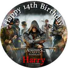 """Assassin's Creed Syndicate personalised icing sheet cake topper 7.5"""" Round"""