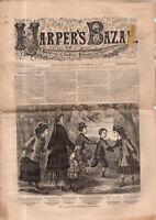 1876 Harper's Bazar November 18 - Wrappers, suits; beret; aprons, overcoat; hats