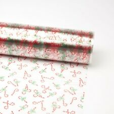 Cello Roll Christmas with Red and White Candy Cane 80cm x 100m