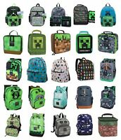 "Minecraft 17"" Backpack OR 16"" 5 PC Set OR Lunch Bag Box Character School Bookbag"