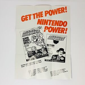 Vtg Nintendo Power NES Games Super Mario Bros. 3 Promotional Poster Authentic