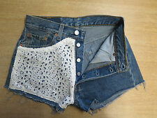 "DESIGNER VINTAGE HIGH WAIST LEVI 501 BLUE DENIM SHORTS UK 8 W28"" - Feminine Lace"