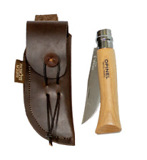 Opinel 8 beech wood pocket knife with leather sheath original design
