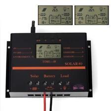 80A LCD Solar-Regler MPHS Solar Panel Laderegler Controller 12V/24V mit USB HS