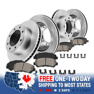 For CHEVY SILVERADO AVALANCHE SIERRA 2500 3500 Front+Rear Rotors Ceramic Pads