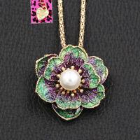 Women's Enamel Pearl Flower Pendant Chain Betsey Johnson Necklace/Brooch Pin