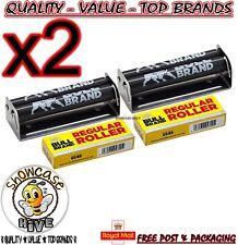 2 x BULL BRAND 70MM REGULAR TOBACCO CIGARETTE ROLLING MACHINE STAINLESS STEEL