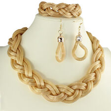 Women's gold plated bracelet, earring & necklace woven plaited fashion jewellery