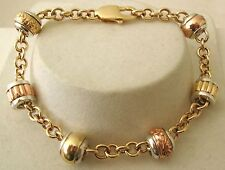 GENUINE 9K 9ct  SOLID Gold & SILVER SERENITY BEADS CHARM BRACELET
