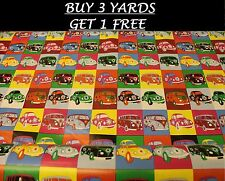 Multi-Colour Vintage VW Camper Van Cars Tablecloth Vinyl PVC Oilcloth Fabric