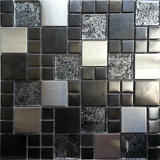 Metallic Random Mix Glass Mosaic Wall Tiles Kitchen Bathroom Shower (MT0002)