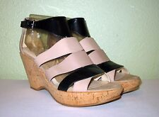 WOMENS NUDE BLACK LEATHER NINE WEST PLATFORMS WEDGES SANDALS US 10 EU 40 40.5 41