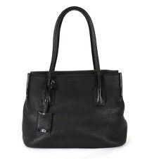 JIL SANDER Black Pebbled Leather Flap Top Medium Tote Bag
