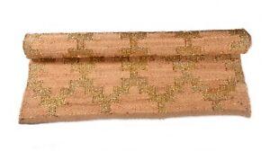 Hand Woven Prided Rectangle Rug Home Decor Jute & Gold Zari Rag 4x6 Feet DN-1979