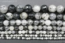 Natural Tourmalinated Quartz Gemstone Faceted Round Beads 4mm 6mm 8mm 10mm 15""