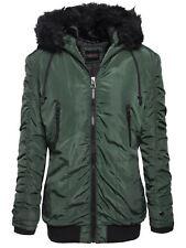 Brave Soul Ladies Womens Fur Hooded Bomber Parka Jacket Zip Up Coat