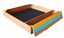 "Square Natural Cedar Sandbox Sand Pit Large Kids Outdoor Sand Pit 40"" x38"" NEW"