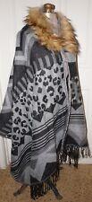 NEW real USA women's plus size 2X 3X poncho cape wrap w faux fur collar