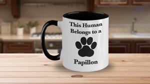 Papillon Mug White Two Tone Coffee Cup Continental Toy Spaniel Dog Mom Fur Dad H