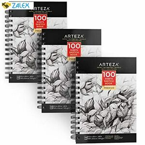 "ARTEZA 5.5X8.5"" Sketch Book, Pack of 3, 300 Sheets (68 lb/100gsm), Spiral Boun"