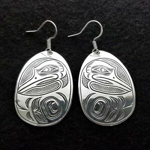 Custom 925 Silver Heron Earrings Westcoast Indian First Nation Fashion Jewelry