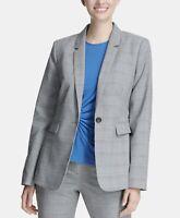 DKNY Womens Blazer One-Button Jacket Professional Office Wear Plaid Gray Size 10