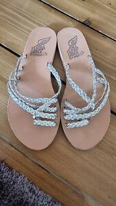 Ancient greek sandals EU 38 Uk5 Silver Gold Leather