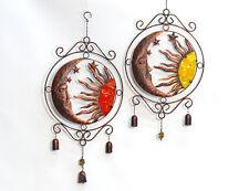 Metall Sonne Mond Aufhänger zur Wahl in Edelrost Optik Glocke Deko Windspiel