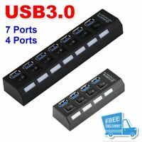 4/7Ports USB 3.0 Hub with On/Off Switch+AU AC Power Adapter for PC Laptop Lot GB