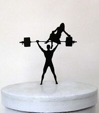 Wedding Cake Topper - Your Man is Strong! Weight lifting Groom silhouette