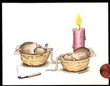 Christmas House Mouse Mice Sleeping Candles Walnut - Christmas Greeting Card