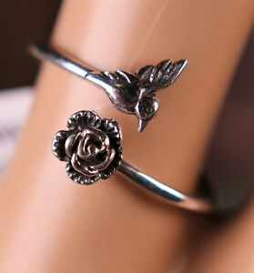 Sterling Silver Hummingbird Ring with Rose Flower Semi Adjustable
