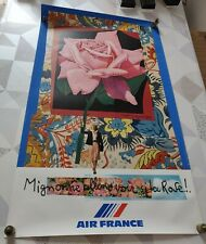 AFFICHE AIR FRANCE ROGER BEZOMBES MIGONNE ALLONS VOIR SI LA ROSE.!. MOURLOT 1980