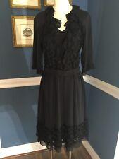 Vivienne Tam Black Silk Circle Lace Dress Size 2