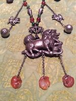 EXQUISITE VINTAGE/ANTIQUE CHINESE SILVER QILIN (KYLIN) NECKLACE JADE & CARNELIAN