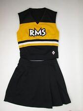 "Teen RMS Cheerleader Uniform Outfit Cheer Costume 32"" Top 26 Waist Black Gold"