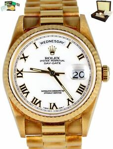 Rolex Day-Date President 18238 36mm White Double Quickset 18K Yellow Gold B+P