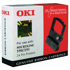 Original OKI Ribbon 09002316 Black Microline 590 591 24 Pin Printer Boxed