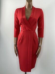 CLOSET LONDON 3/4 Sleeve Tie Back Wrap Dress UK 8
