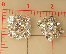 """2 Czech Silver Metal Shank Buttons 3 Size Larger Clear Rhinestones 1"""" Square 513"""