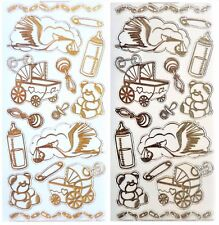 NEW BABY Peel Off Stickers Stork Booties Pram// Cot Rocking Horse Gold or Silver