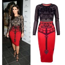 Superb Kim Kardashian inspired Skull Dress. Black / red pencil dress. M 12-14