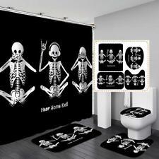 Funny Skeleton Black Shower Curtain Bath Mat Toilet Cover Rug Bathroom Decor